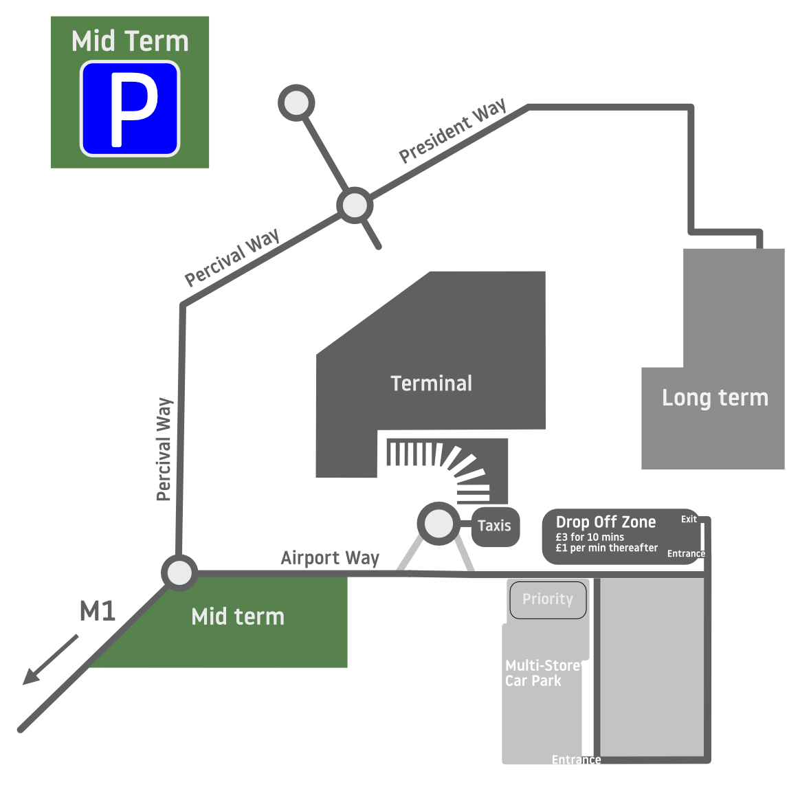 Luton Airport Parking Map Free Pick Up Areas   London Luton Airport Luton Airport Parking Map